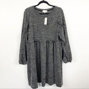 Anthropologie Stella Ruffled Mini Dress Knit XL